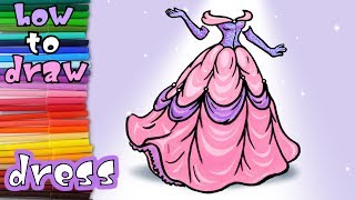 How to Draw a Dress Easy Step by Step - Art Coloring for Kids - learn to draw dress coloring pages