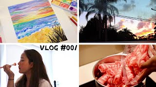 VLOG #001 | 做早餐晚餐😋 | 化妆 | 上课 | 画画 | 逗狗 | 悉尼 | 我的一天