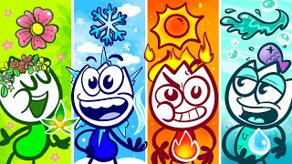 Fire Nate, Water Nate, Earth Nate and Air Nate | Animated Cartoons Characters | Four Element