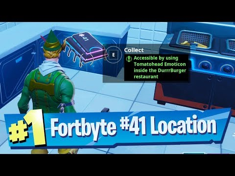 Fortnite Fortbyte #41 Location - Acessible using Tomatohead Emoticon inside Durrrburger Restaurant