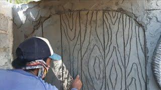 Cara membuat relief dinding pintu kayu !! How to make a wooden door wall relief