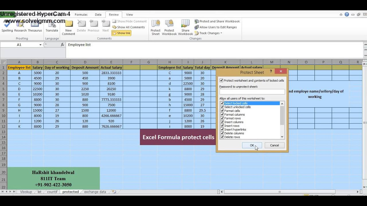 worksheet Excel Protect Worksheet how to protect sheet and separate column in excel 2010 youtube 2010