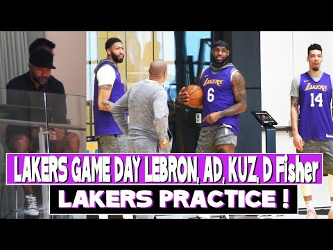 Lakers Game Day Practice | Derek Fisher Watches Lebron, Anthony Davis, Kuz Before Kobe Tribute Game