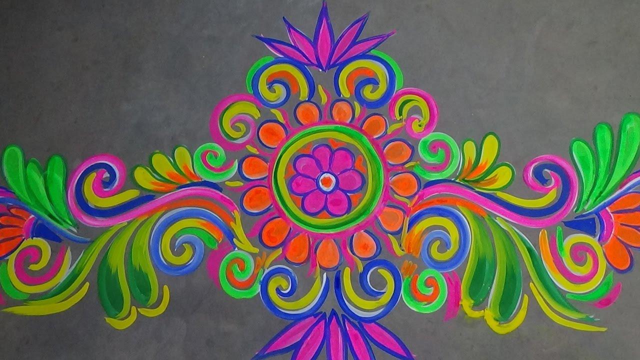 Alpana rangoli borders designs collection for doors for Door entrance rangoli designs