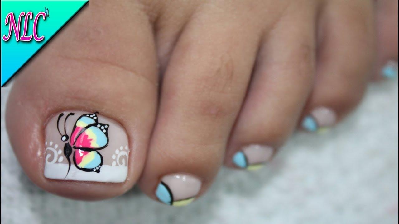 Decoración De Uñas Para Pies Mariposa Y Francés Butterfly Nail Art