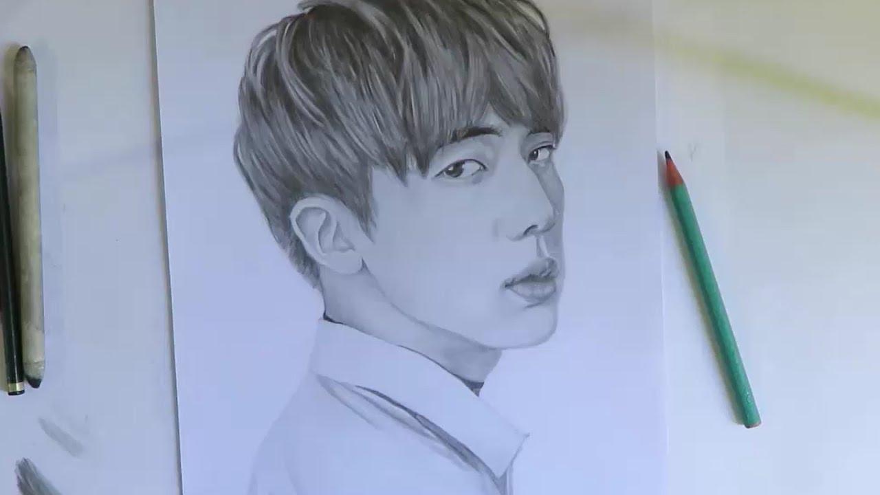 Bts Jin Kim Seokjin Speed Drawing 방탄소년단 진 김석진 Youtube