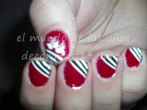 U as decoradas con pincel youtube - Unas decoradas con esmalte ...