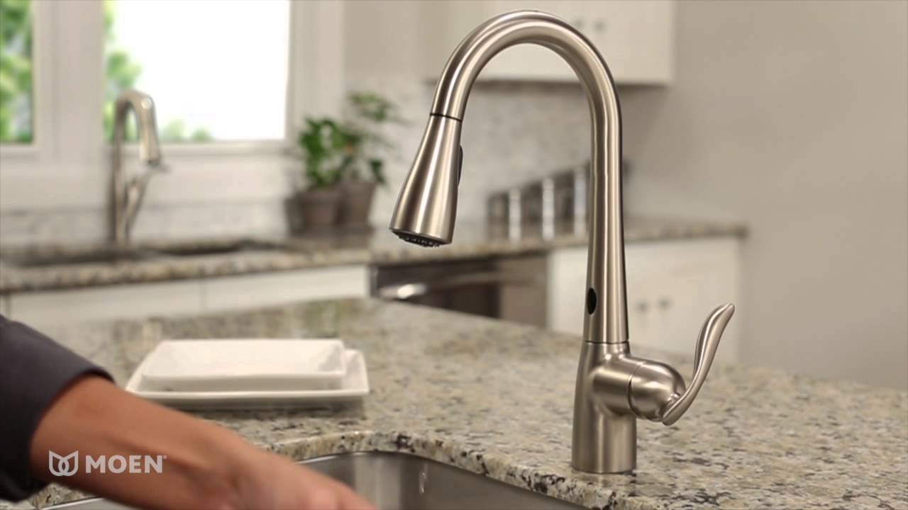 motion faucet kitchen undermount porcelain sink moen arbor with motionsense one handle high arc pulldown 7594ers youtube