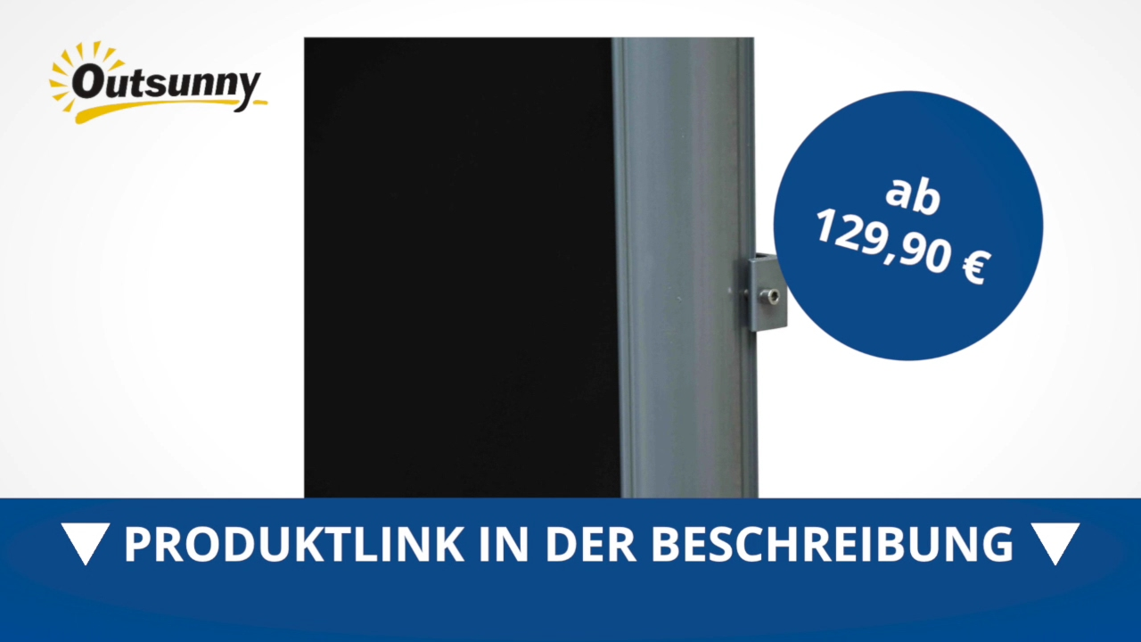 Outsunny Seitenmarkise 2m x 3m Schwarz Markise Sichtschutz