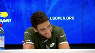 Matteo berrettini's press conference following his victory over andrey rublev in round 4 of the us open 2019.