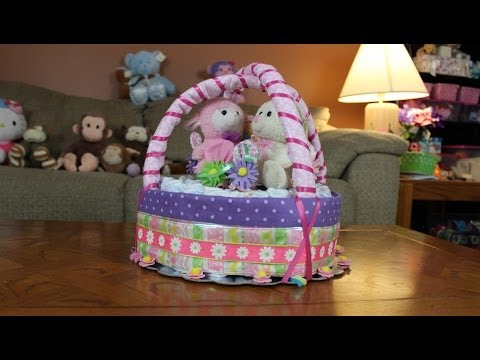 Diaper cake easter basket how to make youtube negle Choice Image