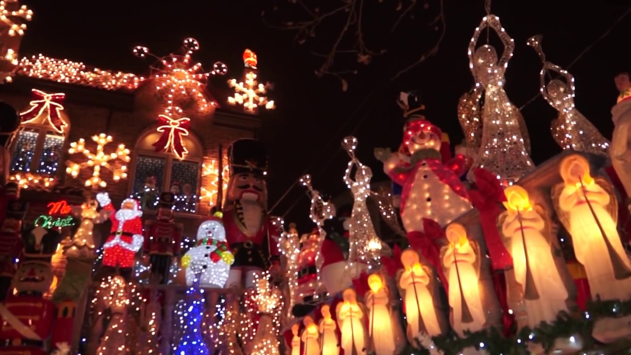 christmas lights dyker heights 2013 decorations lights brooklyn santa nutcrackers angels - Christmas Decorations Lights