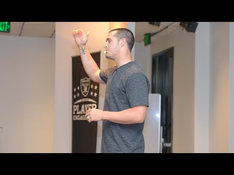 Derek Carr speaks to the rookies about being a pro and having a championship mindset