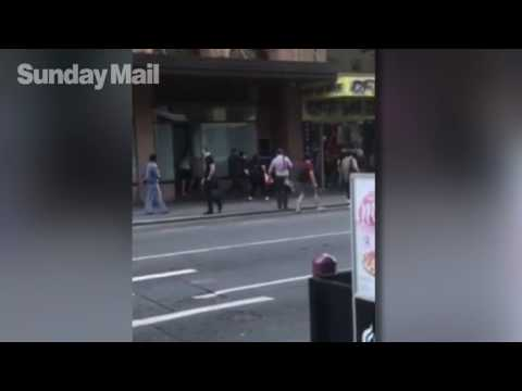 Police officer seen violently slamming woman on to Hindley St footpath after altercation