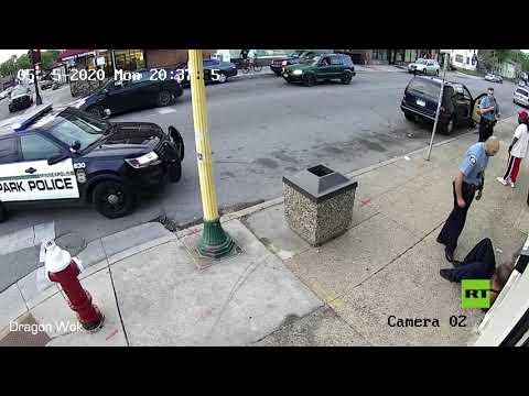 مشاهد درامية لاعتقال جورج فلوريد قبل مصرعه على يد شرطي أمريكي  - 09:59-2020 / 5 / 30