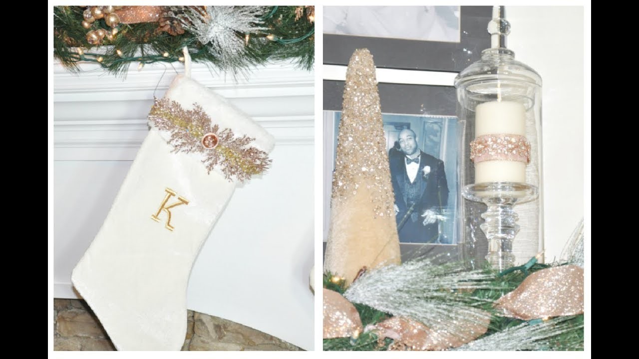 diy rose gold glam christmas stockings and diy bling candles diy mantle decor