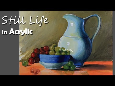 Realistic Still Life in Acrylic : Jug, Dish, Fruits painting step by step