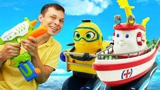 Видео с игрушками - Кораблик Элаяс и Фёдор! - Игры в воде.