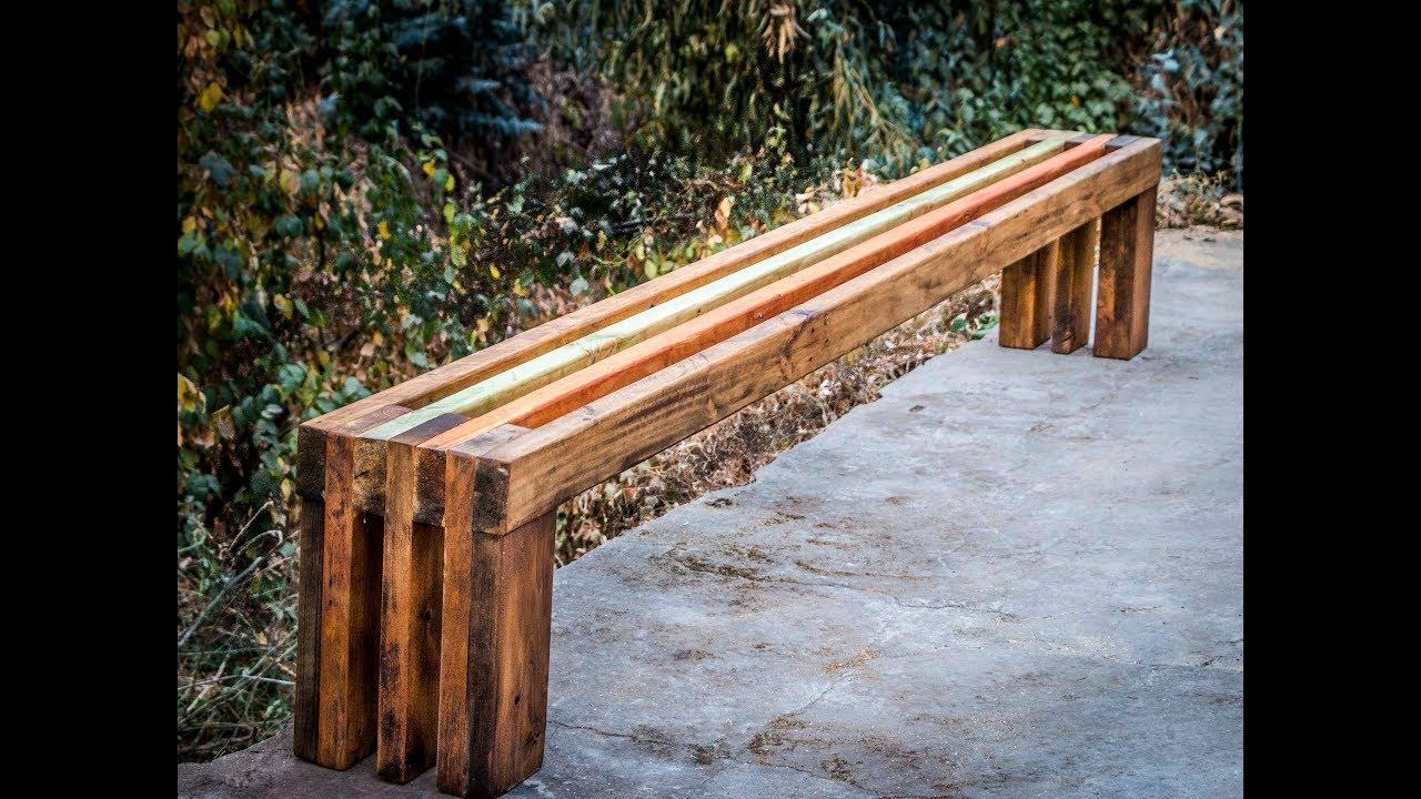 C mo hacer un banco de madera xl youtube - Como hacer bancos de madera ...