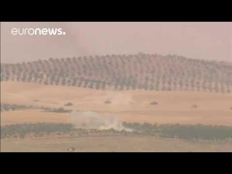 Türk tanklarının hedeflerini vurarak Suriye'de ilerleyişi