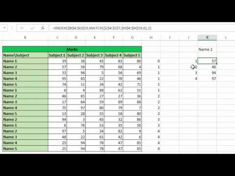 Index and Match to extract data