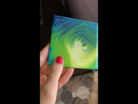 Tree Ring Pour on Wooden Coaster, Acrylic Pour, Fluid Art with Epoxy Resin Glass Topcoat