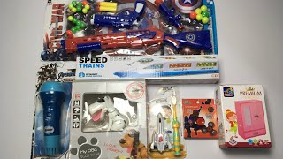 My Latest Cheapest toys collection, dog piggy bank, bullet train, spiderman spinner, captain america