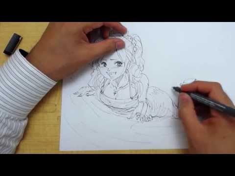イラストの描き方ドレス着て寝そべっている女性キャラstep1ペン