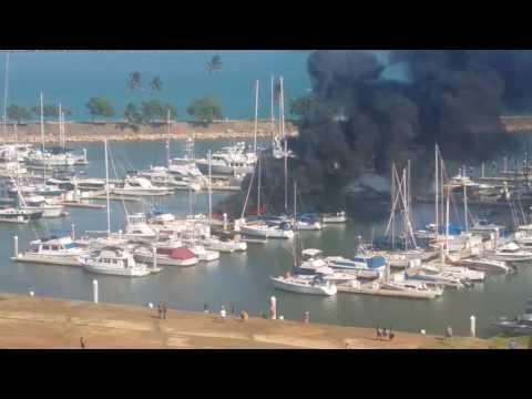 Ko Olina Marina Hawaii - Boat Fire - 5-20-2016