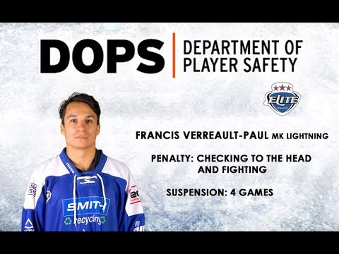 Elite League Department of Player Safety - Francis Verreault-Paul
