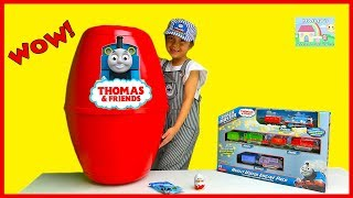 ENORMOUS SURPRISE EGG Toys Unboxing Thomas & Friends Train Playset Kinder Egg Surprises ToyReview