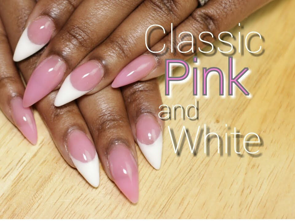 Classic Pink and White Acrylic Nails | LongHairPrettyNails - YouTube