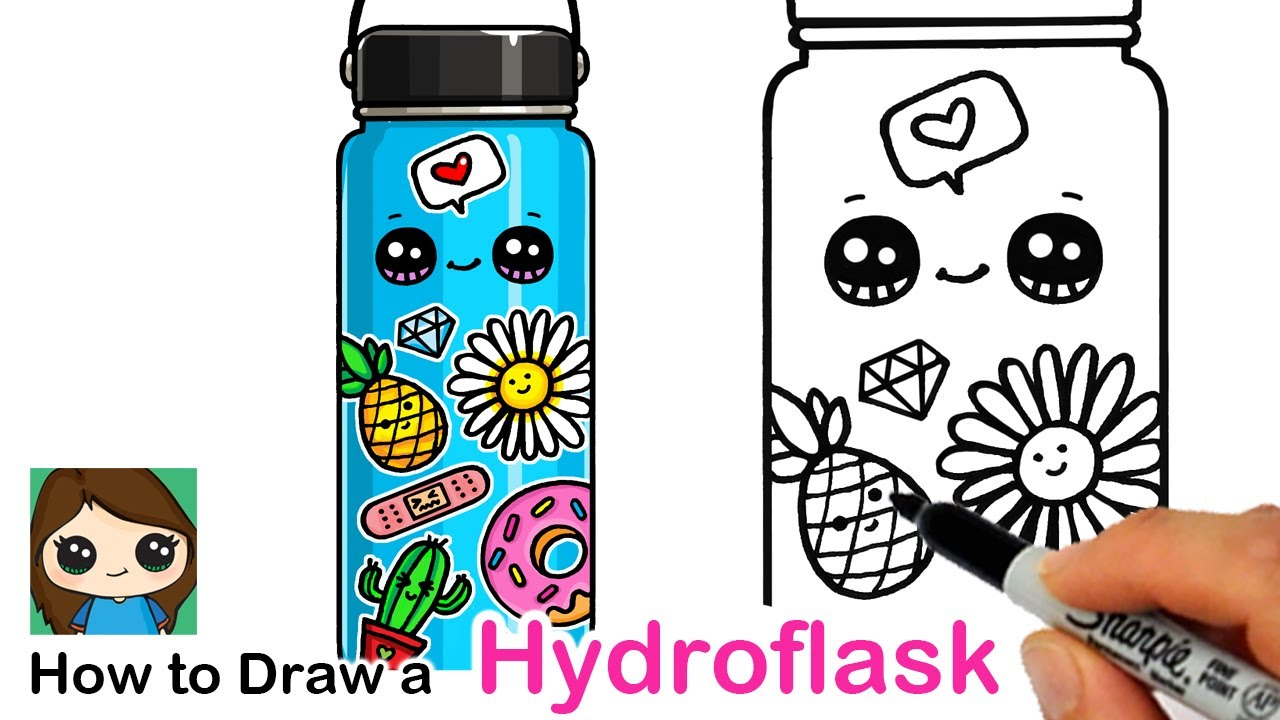 How To Draw A Hydroflask With Cute Stickers Youtube