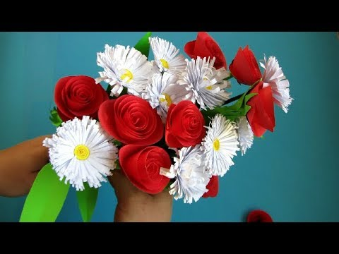 How to Make Realistic Paper Flover bouquet Stick . DIY. Paper Craft. Handcraft