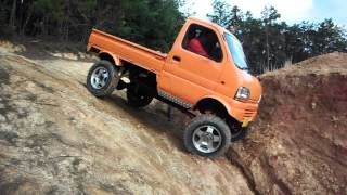 Repeat youtube video リフトアップ軽トラ クロカン 奈良トラ Japanese Mini Truck Off road suzuki