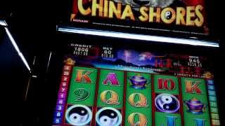 25 CENT CHINA SHORES SLOT MACHINE BONUS JACKPOT 8 FREE SPINS High Limit
