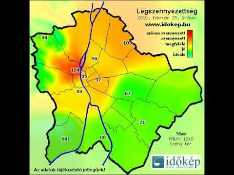 budapest légszennyezettség térkép Légszennyezettségi térkép Budapest 2010 02 25   YouTube budapest légszennyezettség térkép