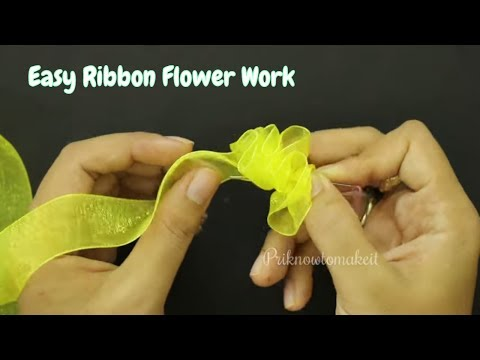 How to make ribbon flower, easy hair accessory, organza ribbon work