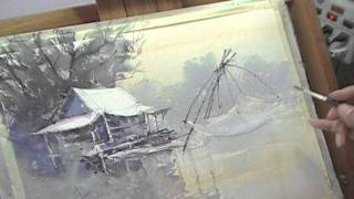 Life along the river : Water color by Direk kingnok