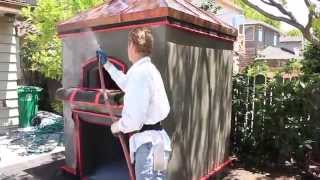 Backyard Pizza Oven, A Work Of Art With Stucco Or Plaster