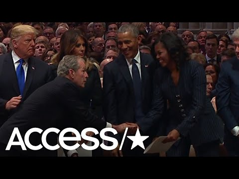 George W. Bush Appears To Sweetly Sneak Michelle Obama A Cough Drop At His Fathers Funeral | Access