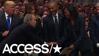George W. Bush Appears To Sweetly Sneak Michelle Obama A Cough Drop At His Father's Funeral | Access