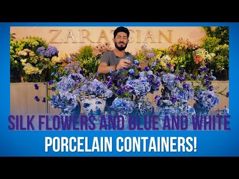 Silk Flowers And Blue And White Porcelain Containers!
