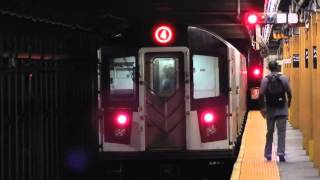 Crown Heights-Utica Avenue-bound R142A (4) train leaving Franklin Avenue (IRT Eastern Parkway Line)