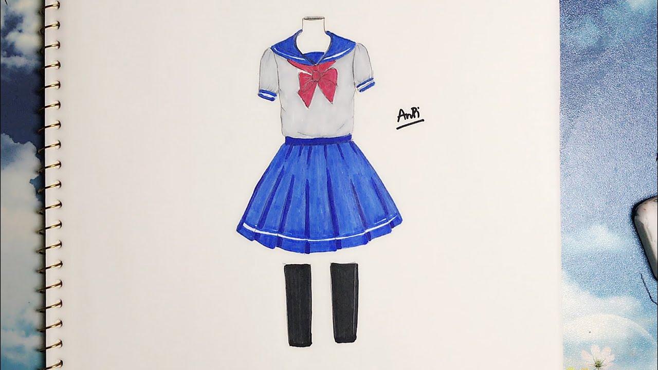Hướng dẫn vẽ đồng phục học sinh Anime – An pi TV Coloring