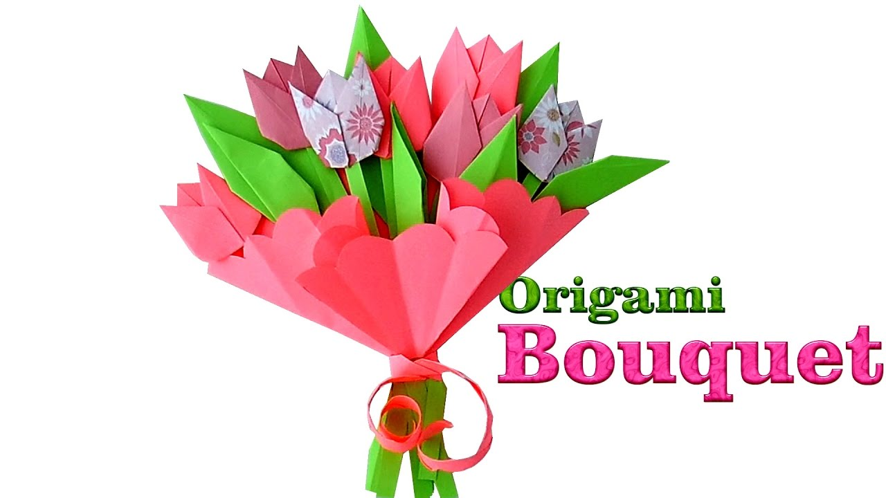 Origami bouquet how to make paper tulips origami flowers for origami bouquet how to make paper tulips origami flowers for beginners izmirmasajfo