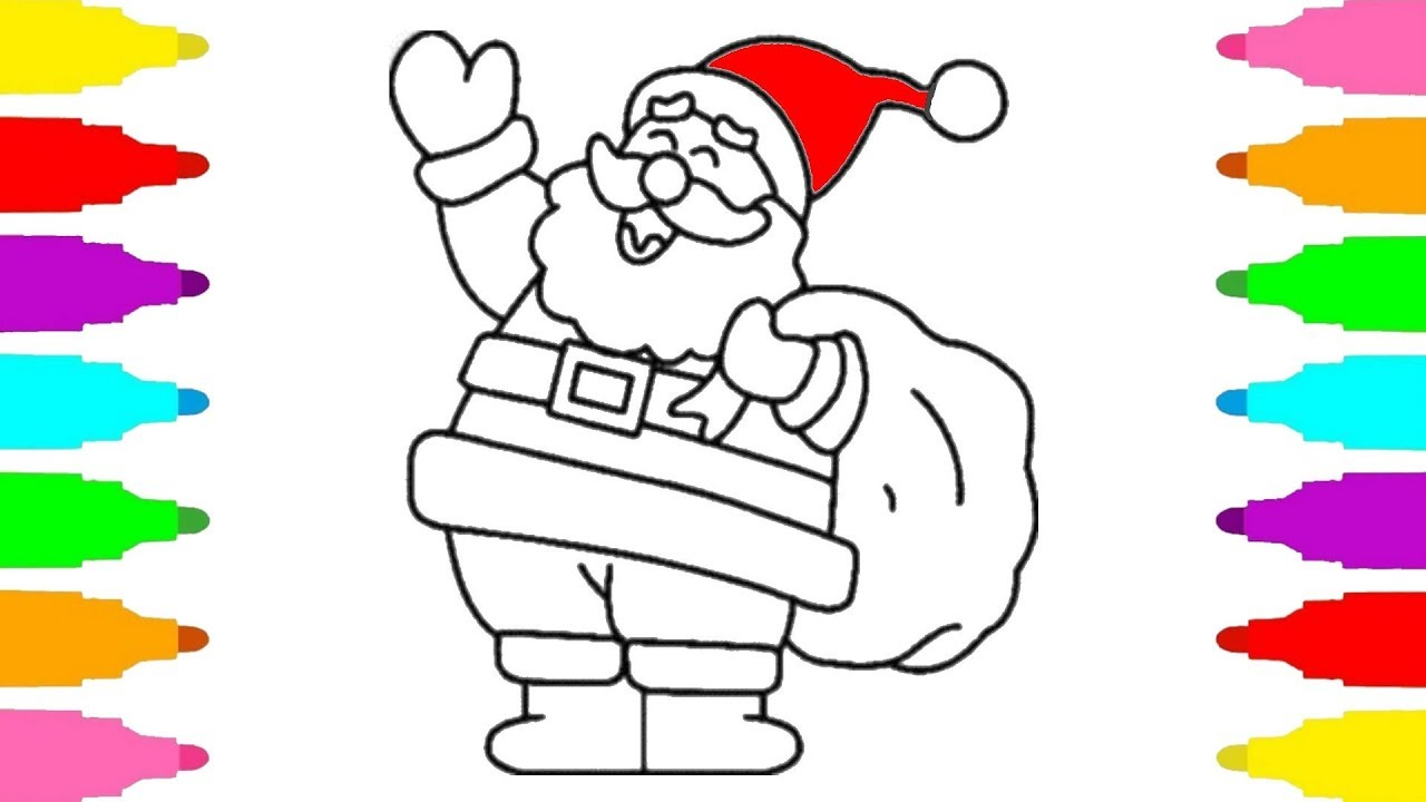 How to Draw Santa Claus for Kids - Christmas Coloring Pages for Baby ...