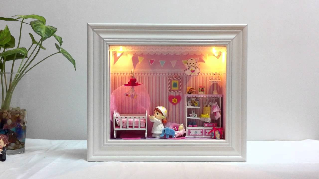 Baby Bedroom In A Box Special: DIY Dollhouse Miniature In A 3D Frame Box