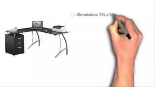 Techni Mobili L-shaped Computer Desk Black With File Cabinet