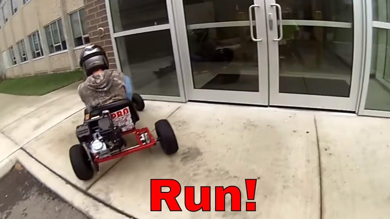 Mini bike and Go kart ride through high school. race and adventure ...